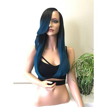 """Blue Teal Rock Ombre' Human Hair Blend 5"""" Deep Parting SWISS Lace Front Wig - Rocky 81725"""