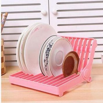 Foldable Dish Drip Rack Plate Organizer Cup Drainer Kitchen Flatware Drying Holder Shelf Kitchen Storage