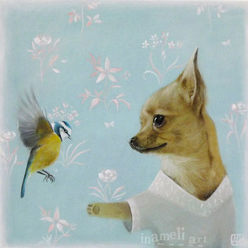 Chihuahua Dog & Bird Art Print Illustration Acrylic Painting Animal Painting Wall Decor Wall hanging Wall Art gift
