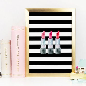 Lipstick Print, Wake Up and Makeup, Makeup Art, Makeup Print, Watercolor Lipstick Print, Black and White Stripes, Red Lips, Printable Art