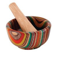 HIC Wooden Round Mortar and Pestle, 3-1/2-Inch