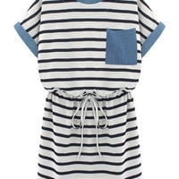 Black White Striped Short Sleeve Pocket Dress - Sheinside.com
