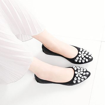 Pointed Close Toe Oxford Rhinestone Flats