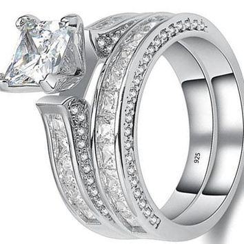 2.8ct Princess Cz 925 Sterling Silver Wedding Band Engagement Ring Set For Women