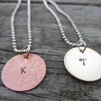 Hand stamped Necklace, Childrens very simple custom Initial Necklace