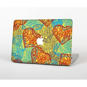 The Squiggly Red & Blue Hearts Over Yellow Skin for the Apple MacBook Air 13""