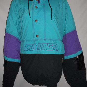 Vintage 80s Starter Jacket Purple and Teal Size Large