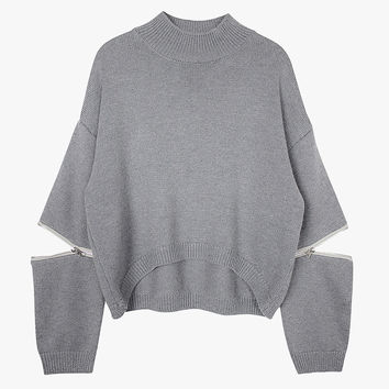 Gray Cut Out Zipper Sleeve Oversized Crop Sweater