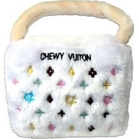Chewy Vuiton Handbag Plush Dog Toy for Medium and Large Dogs.