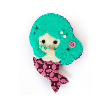 Handmade Felt Doll Brooch, Fabric Brooch, Little Mermaid: Aurora