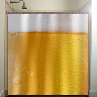 drink frothy beer lover shower curtain bathroom decor fabric kids bath white black custom duvet cover rug mat window