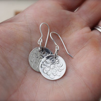 Sterling Silver Circles Discs.Stamped designs. Poka Dots. Dot design. Simple Fun Design. Minimalist. Mothers day
