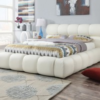 Acacia collection ivory faux leather upholstered queen bed set