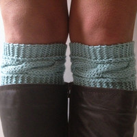 Light Blue Boot Liners Boot Cuffs Handknit Cabled Boot Toppers