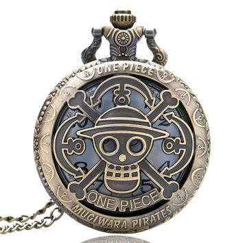 2017 Hot One Piece Cool Pirate Style Pocket Watch Mugiwara Straw Hat Case Fashion Copper Necklace Clock for Kids Men Boys Gifts