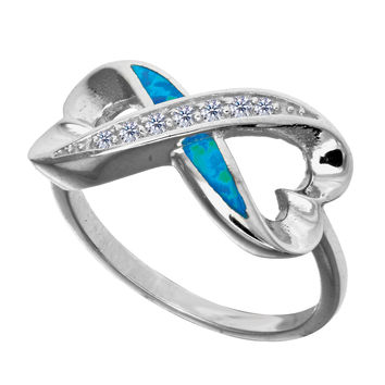 Sterling Silver With Rhodium Finish Infinity And Hearts Design With Cz And Created Opal Ring