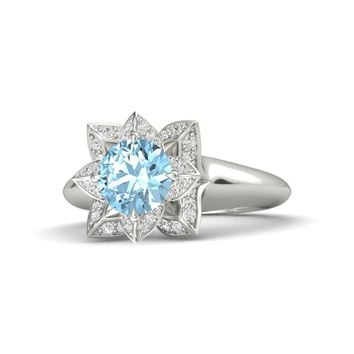 Round Aquamarine Palladium Ring with White Sapphire