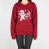 Oh Snap Gingerbread Man (White) Crewneck Sweatshirt