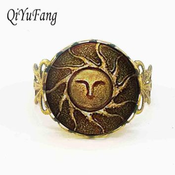 Heirs of the Sun Dark Souls II apollo sun god jewelry ring Gift Women Men vintage doctor who charming adjustable silver bronze