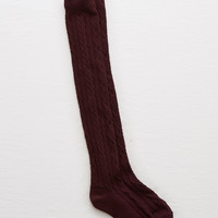 Aerie Cable Over-The-Knee Socks , Deep Plum