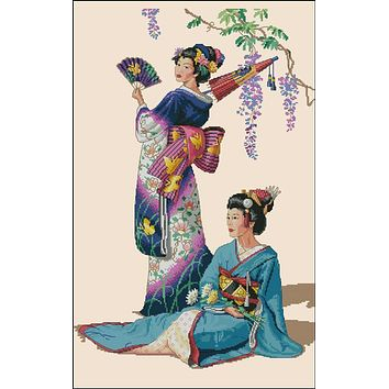 Top Quality Beautiful Lovely Counted Cross Stitch Kit Jewels of the Orient Japanese Woman Lady Girls dim 03898 3898