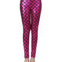 Rose Red Mermaid Fish Scale High Waist Leather Leggings