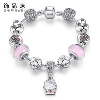 Cute Cat Hello Kitty Charms Fit Original Bracelet Bangle Murano Glass Beads Bracelet for Women Children Girl DIY Fashion Jewelry