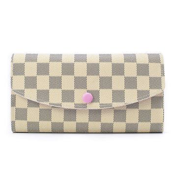 Checkered Wallets for Women Emilie Bifold Wallet Leather Large Purse RFID Blocking with Card Holder Organizer
