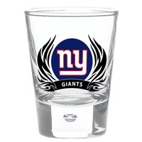 New York Giants 2 oz Round Shot Glass Tribal Flames Officially Licensed Team Logo NFL Football