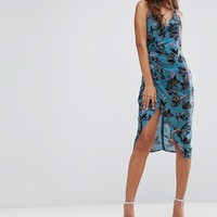 ASOS TALL Strappy Drape Back Floral Midi Dress at asos.com
