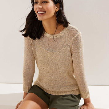 Petite Shimmer Open Knit Sweater | LOFT