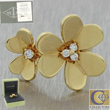 Van Cleef & Arpels 18k Yellow Gold Frivole Between The Finger Flower Ring BP J8