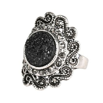 Fashion Rings For Women 2015 Vintage Jewelry Black Ore Resin Ring Inlay Crystal Flower Round Punk Rock Free Shipping