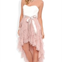 Strapless High Low Prom Dress with Ruched Bodice and Tendril Skirt