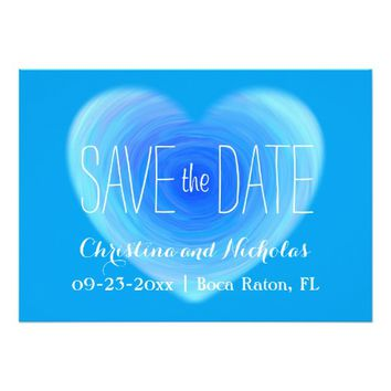 Blue Water Heart Save the Date Engagement Photo 5x7 Paper Invitation Card