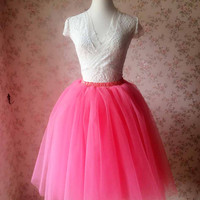 Coral Tutu Skirt /Coral Bridesmaid Skirt /Puffy Ballerina Skirt- Custom Size Petticoat - Pink Princess Skirt(T1817)