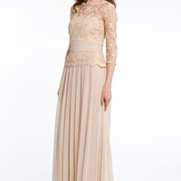 Lace and Chiffon Dress with V-Back