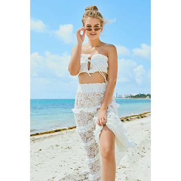 Marilyn Ruffle Lace Tube Top - White