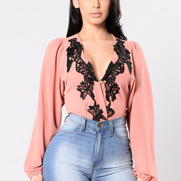 Talkin To Me Bodysuit - Carnation
