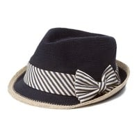 Woven Navy Fedora with Striped Ribbon and Bow Trim | Icing