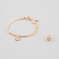 Daisy Anklet & Toe Ring Gold One Size For Women 25595662101