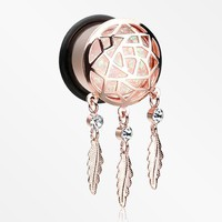 A Pair of Rose Gold Opal Sparkle Dreamcatcher Single Flared Ear Gauge Plug