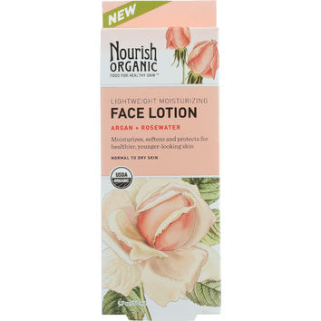 Nourish Organic Face Lotion - Organic - Lightweight Moisturizing - Argan And Rosewater - 1.7 Oz
