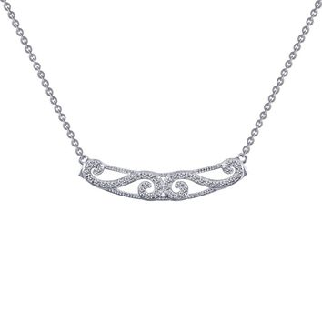Lafonn Rhonda Faber Green Sterling Silver Platinum Plated Lassire Simulated Diamond Necklace (0.4 CTTW)