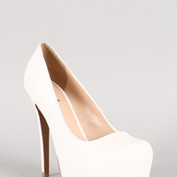 Qupid Sanity-01 Leatherette Almond Toe Stiletto Platform Pump
