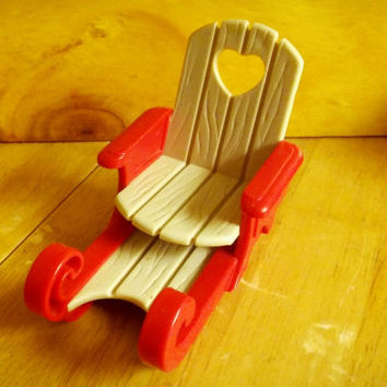 Vintage Fisher Price Loving Family Dollhouse Christmas Holiday Red Sleigh / Sled