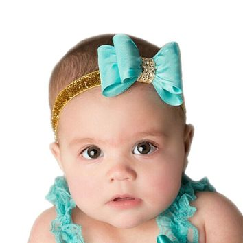 16colors Newborn Luxe Hair Flower Bows Matching Glitter Headband Handmade Hard Bow Headbands For Baby Girls Hair Accessories