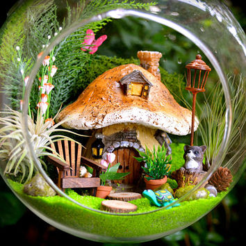 "Woodland Terrarium Kit ~ 8"" Air Plant Terrarium Kit ~ Mushroom House ~ Raccoon + Turtle + Butterfly ~Sand and Gladiolus Color Choice ~ Gift"