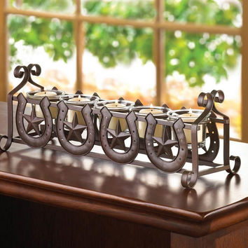 Candle Holder-Horseshoes Country Stars