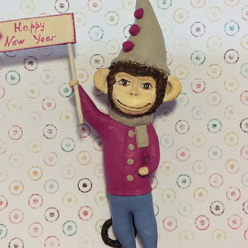 Art Paper mache Christmas toy monkey symbol of New Year 2016  Happy New Year decoration on Christmas tree